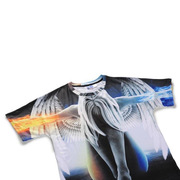 3D Angel Printed Loose Short Sleeve T-shirt
