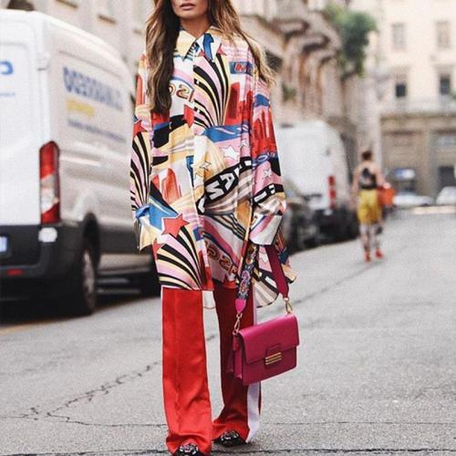 Fashion Oversize Lapel Long Sleeves Color Block Shirt Dress