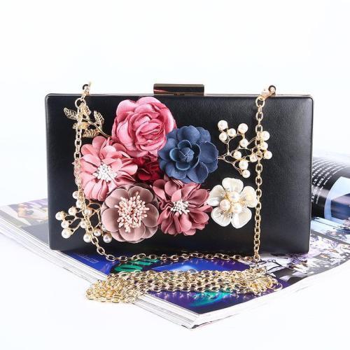 Lady temperament flower pearl evening bag