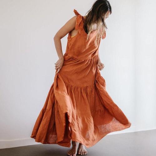 Casual Loose Sleeveless Lace Up Women Maxi Dress Summer Solid Boho Beach Dress O Neck Ruffles Swings Long Dress Holiday Vestidos