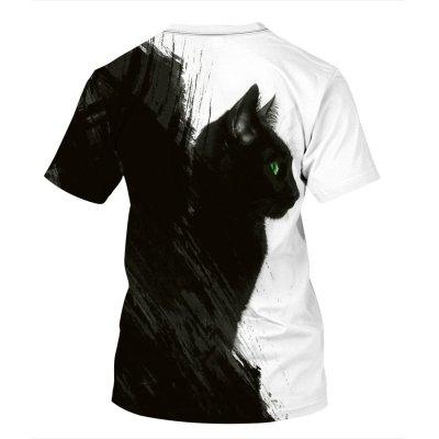 3D Cat Printed Funny Men T-shirt Loose Casual Novelty Short Sleeve Tees Top