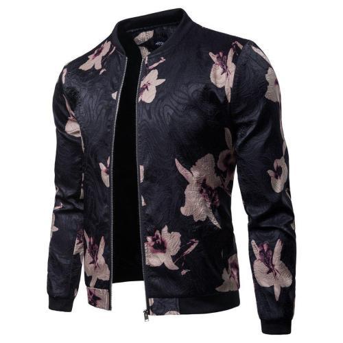 Fashion Lapel Collar Floral Printed Zipper Coat