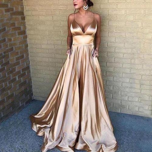 Sexy V-neck Dress With Sling Evening Dress