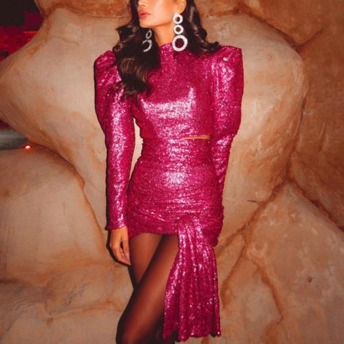 Ladies Elegant Lamb Sleeve Crop Top with Fringe Skirt Set
