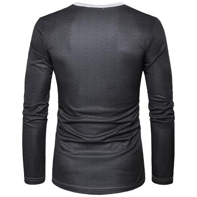 Fake Two Piece 3D Printed Long Sleeve Round Neck T-shirt