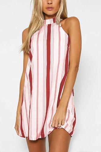 Fashion Stripe Print Sleeveless Halter Mini Dresses