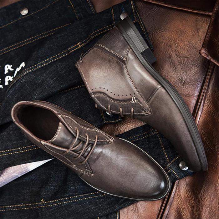 Men's British wind layer leather Martin boots