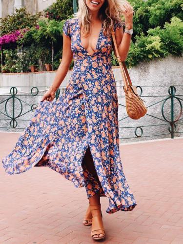 Deep V-neck Floral Maxi Dress