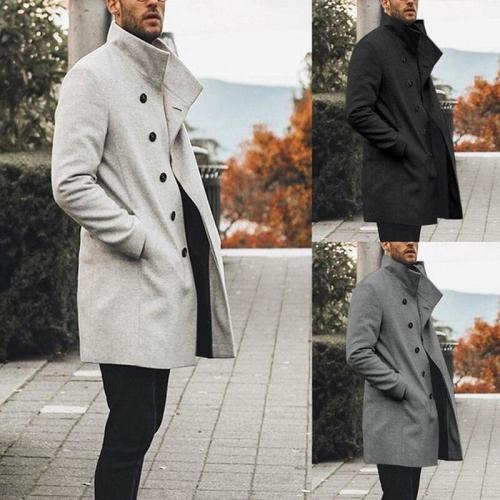 Oeak Autumn Mens Brand Treanch Coats Stand Fashion Long Jacket Overcoat Casual Solid Slim Pocket Coats Black White Outwear 2020