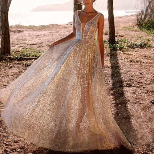 Fashion Sexy V-Neck Backless Sleeveless Evening Dress