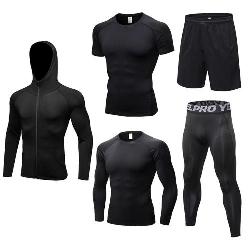 2019 New Men's Running Sets 5pcs/sets Compression Sport Suits Basketball Training Tights Clothes Gym Fitness Jogging Sportswear