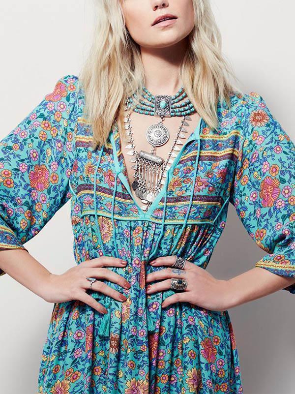 Romantic Blue Floral 3/4 Sleeve Bohemia Dress Maxi Dress
