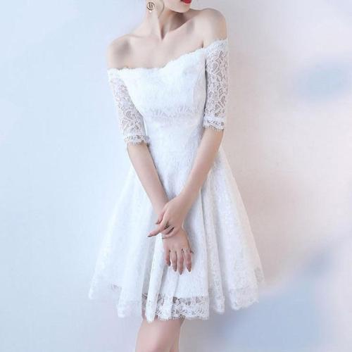 robe de soiree short Elegant Lace Evening Dress Dew shoulder evening gown elegant Party Dresses sexy formal dress