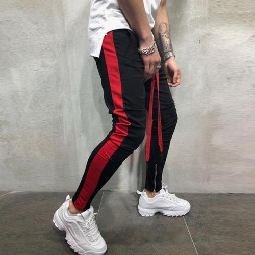 Colorblock Foot Zipper Stitching Sweatpants