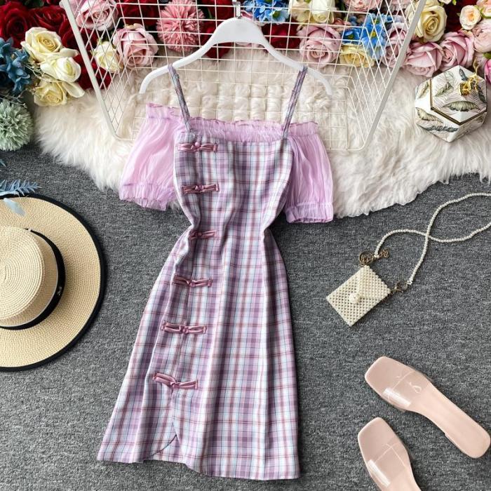 JOYMANMALL Women Summer Cheongsam Dress Off Shoulder Slash Neck A-line Dress Lace Patchwork Sweet Elegant Plaid Short Strap Dress