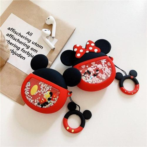 Glitter Quicksand Cartoon Mouse AirPods Case Silicone Shockproof Cover