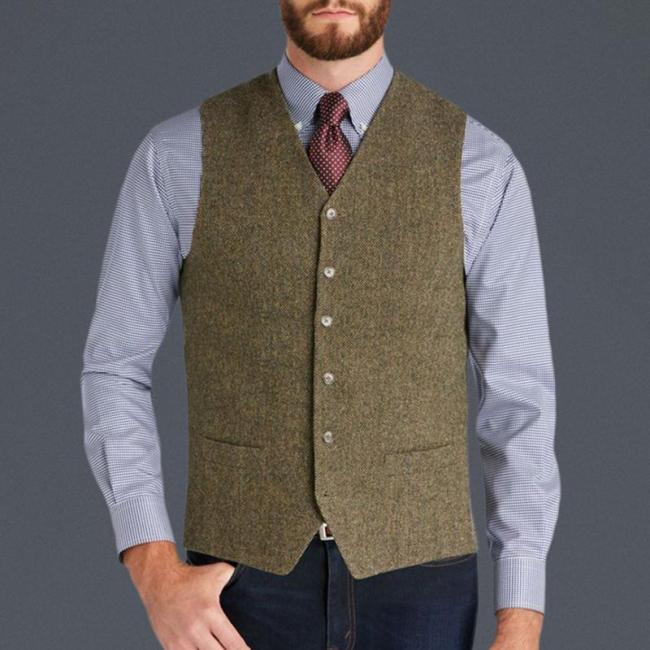 Men's Casual Solid Single Breasted Slim Vest