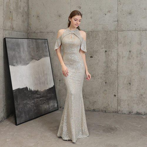 Noble banquet evening dress elegant long party evening dresses short sleeve off-shoulder sequined fishtail evening gown
