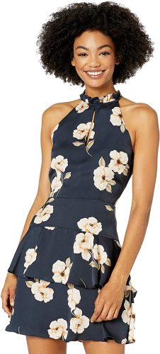 BB Dakota Women's Gardenia Party Print Reverse Crepon Dress