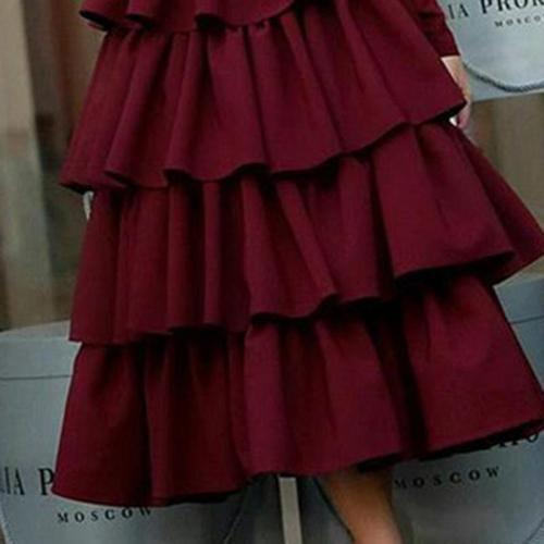 Fashion Long Sleeve Round Neck Evening Dress