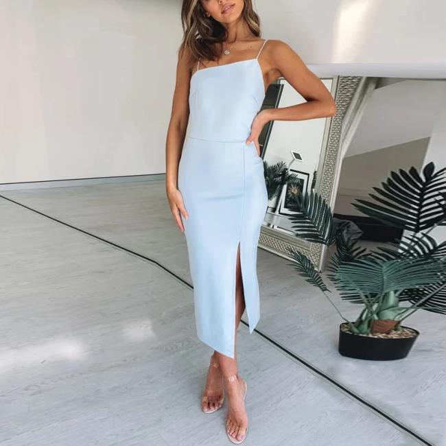 Elegant Slim Fashion Blue Bodycon Midi Dress