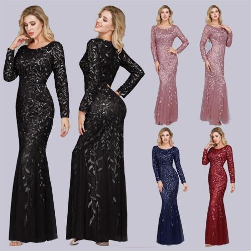 Plus Size Evening Dresses Mermaid O Neck Full Sleeve Lace Appliques Tulle Long Party Gown Robe Soiree Sexy Formal Dress vestido