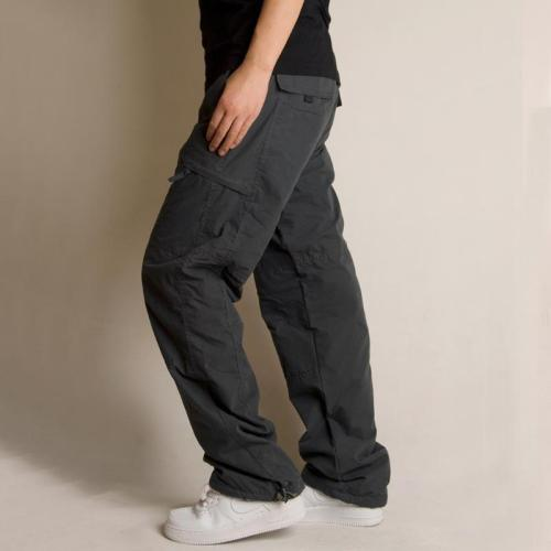Casual Winter Floss Padded Plain Multiple Packets Pants