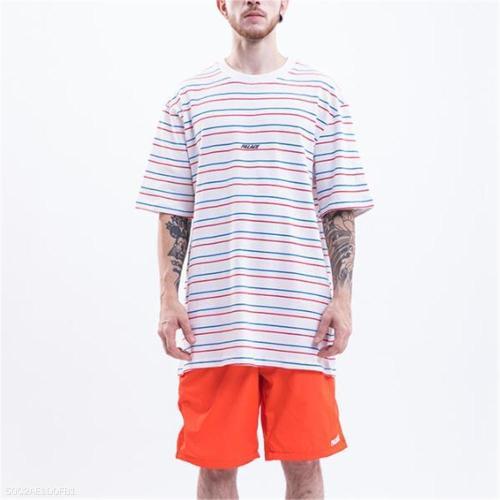 Fashion Men's Loose Strip Round Neck Short Sleeve Top