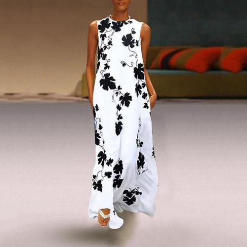 Maxi Long Dresses Vintage Casual Loose Sexy Round Neck Bohemia Floral Print Sleeveless Casual Dress