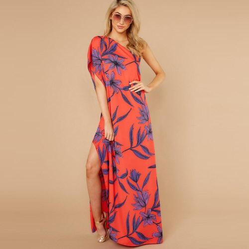 Irregular Split Print Off Shoulder Dress Plus Size Long Asymmetry Printing 2020 Maxi Dresses