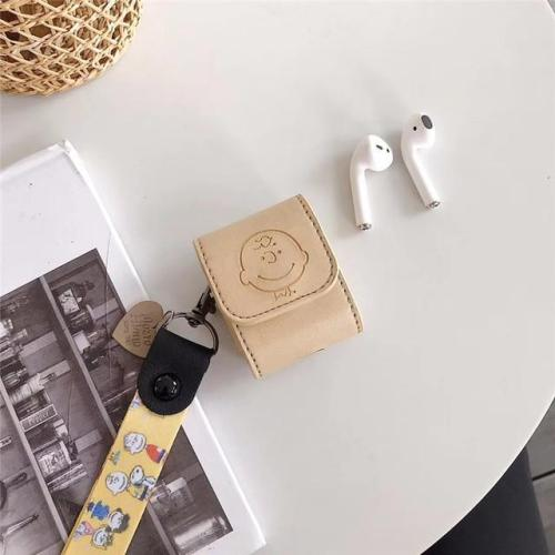 Snoopy PU Leather AirPod Case Cover with Wristband