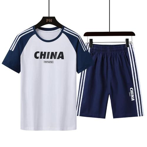 men's sports coat set sport shirt men running shorts 2pcs gym suit for soccer fitness men sportswear t-shirts sets China logo