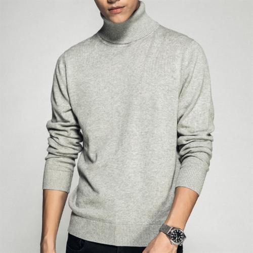 Casual Fashion Pure Color Cotton High-Collar Sweater
