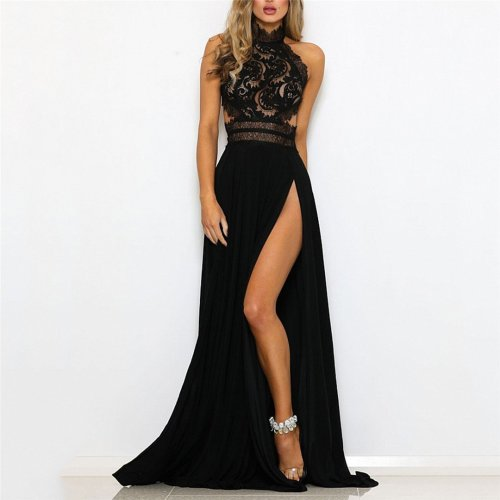 Sexy Perspective Lace Split Dress