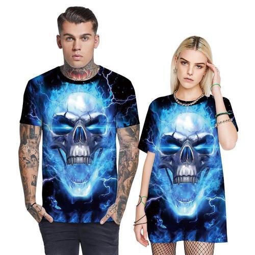 3D Blue Flame Skull Printed Funny Men T-shirt Loose Casual Novelty Short Sleeve Tees Top