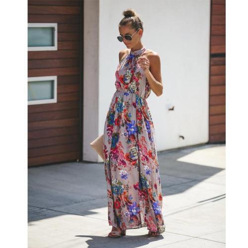 liva girl Womens Summer Boho Maxi Long Dress Evening Party Beach Dresses Sundress Floral Halter Dress Summer 2019