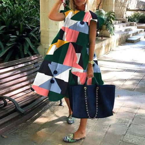 2020 Casual Crew Neck Vintage Plaid Printed Knee-Length Dresses Loose Party Ruffled Casual Dress