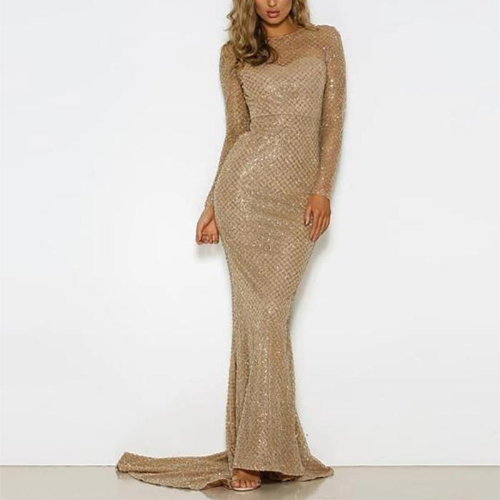 Sexy Backless Gridding Evening Dress