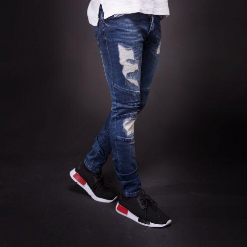 Men's Hole Stretch Jeans Slim-Fit Pants
