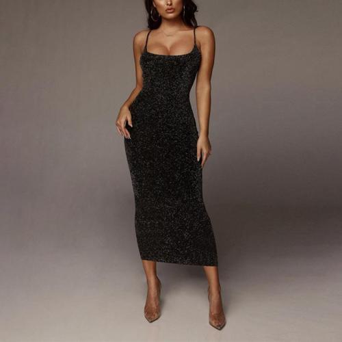 Women's Sexy Sleeveless Paillette Bare Back Sling Dress