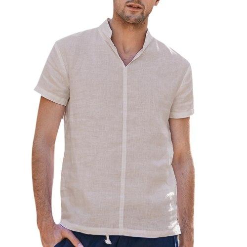 Shirts Summer Linen Shirts Men Pure Cotton Hemp Short Sleeve Blouses