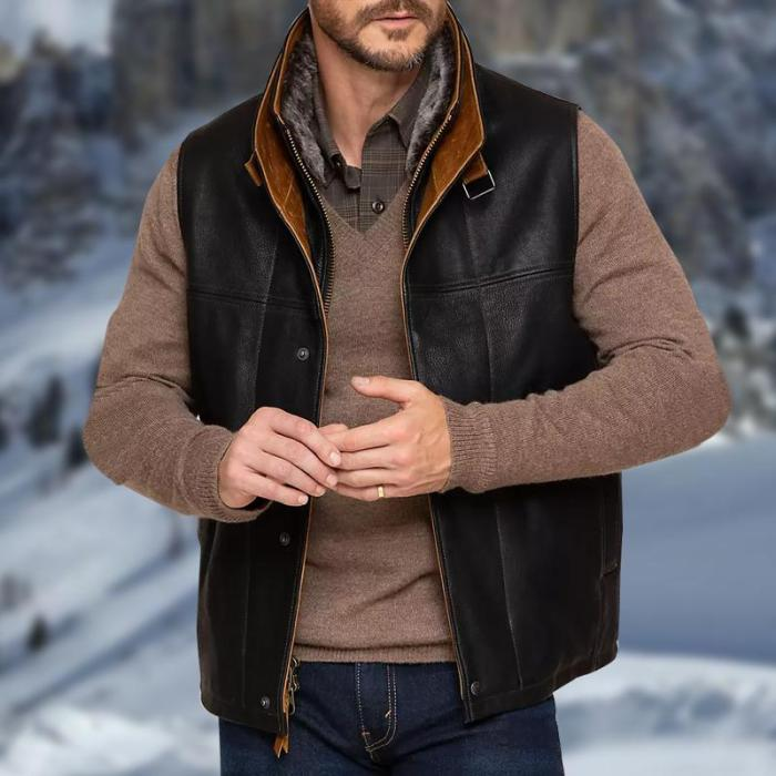 Men's Casual Stand Collar Leather Vest