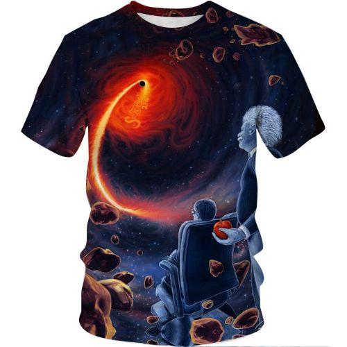 Black Hole Print Summer Casual Short SleeveT-shirt