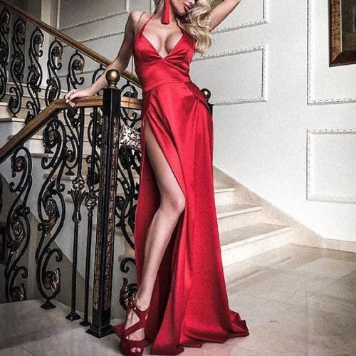 Sexy Deep V Open Back Sling Evening Dress