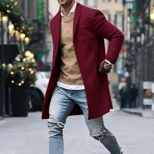Men's Overcoat Fashion Autumn Winter Button Slim Long Sleeve Suit Jacket Trench Coat Casual high quality Mens Tops Blouse 020New