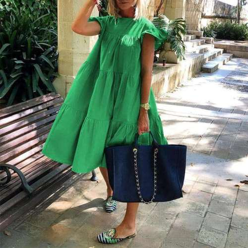 2020 Women Cotton Ruffled Dresses Summer Holiday Party Loose Solid DressCasual Dress