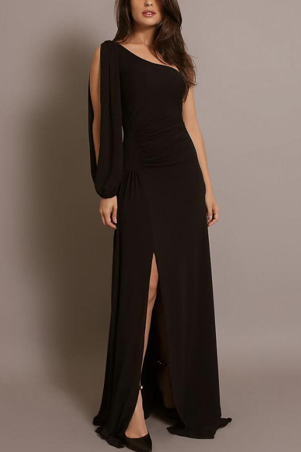 Sexy Fashion One Shoulder Slit Maxi Dress