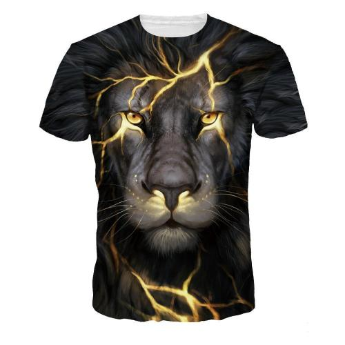 3D Lion Printed Fashion Funny Casual Short Sleeve T-shirt Tees Top