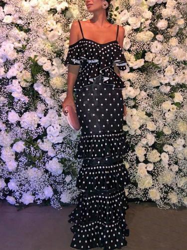 Elegant Boat Neck Polka Dot Splicing Ruffled Dress Evening Dress