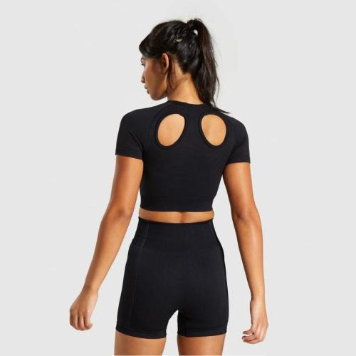 2020 New Seamless Knitted Buttocks Yoga Suit T-Shirt+ Shorts Sports Fitness Suit Shorts Suit Female Yoga Set fitness suit